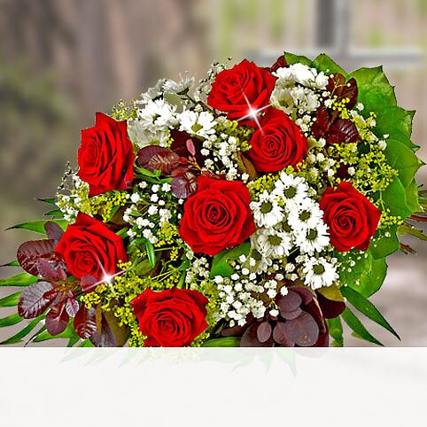 Liegestrauß mit roten Rosen