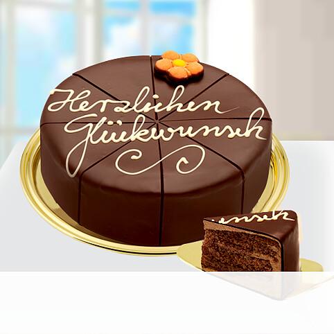 """Dessert-Sachertorte """"Herzlichen Glückwunsch"""""""