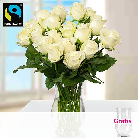 20 weiße Fairtrade Rosen im Bund mit Vase