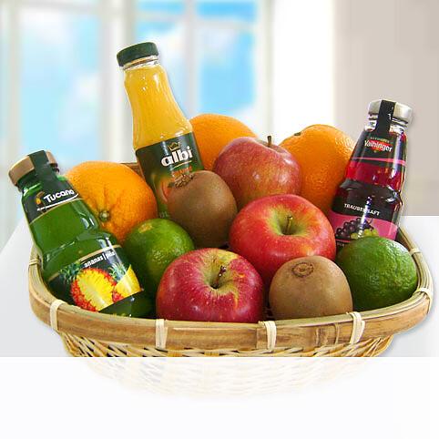 Präsentkorb Obst und Saft