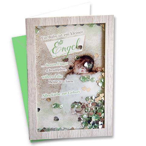 Passepartoutkarte mit Klasichtfenster zur Geburt
