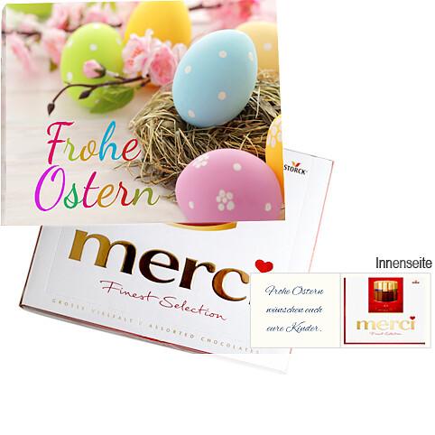 Persönliche Grußkarte mit Merci: Frohe Ostern