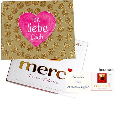 Persönliche Grußkarte mit Merci: Ich liebe Dich