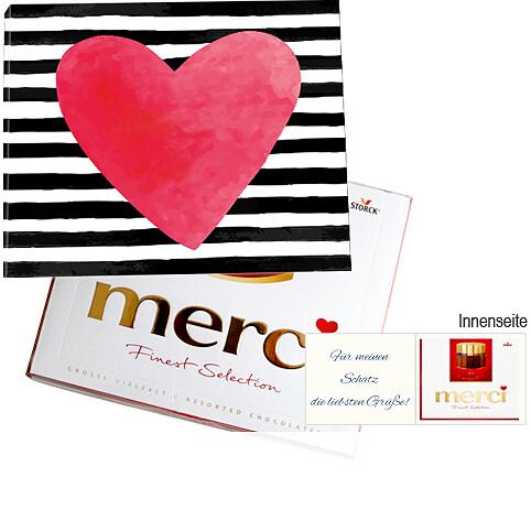 Persönliche Grußkarte mit Merci: Alles Liebe zum Valentinstag