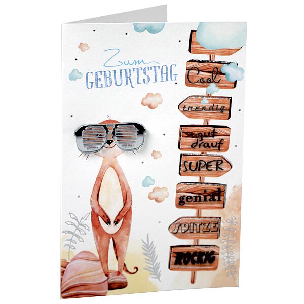 """Motivkarte """"Zum Geburtstag"""" mit verspiegelter Acryl-Sonnenbrille"""