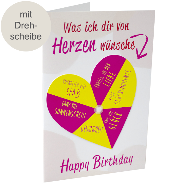 Geburtstagskarte mit Drehscheibe