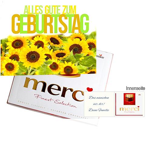 Persönliche Grußkarte mit Merci: Alles Gute zum Geburtstag