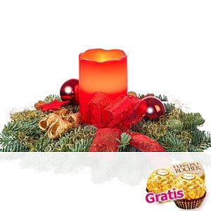 Adventsgesteck mit <br>LED-Kerze