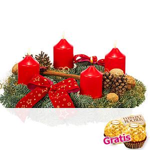 Rot-Goldener Advents-<br>kranz