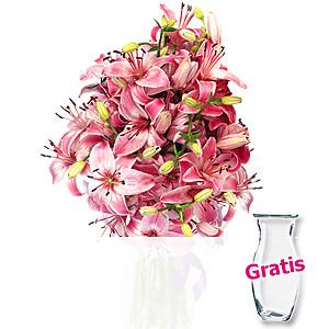 10 rosa Lilien <br>im Bund