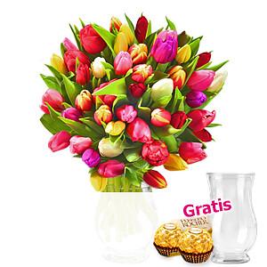 Bunte Tulpen <br>im Bund