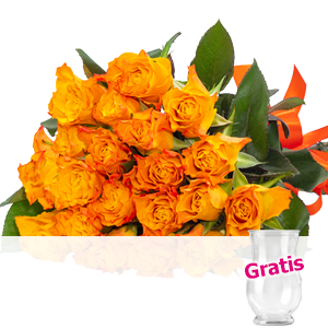 20 orange Rosen <br>im Bund