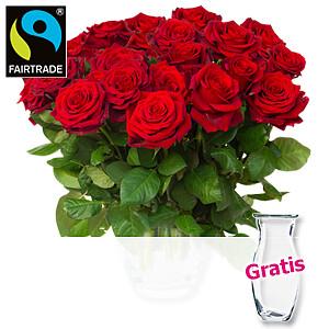 Rote Fairtrade Rosen <br>im Bund