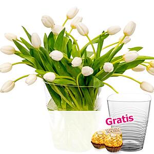 30 weiße Tulpen <br>im Bund