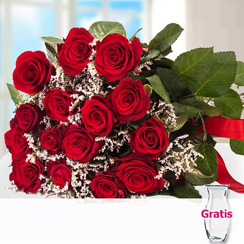 15 rote Rosen im Bund mit Limonium